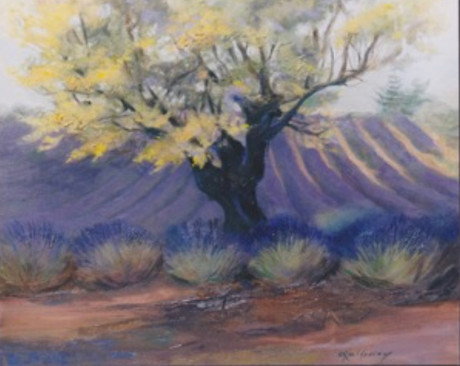 Almond tree and lavender.