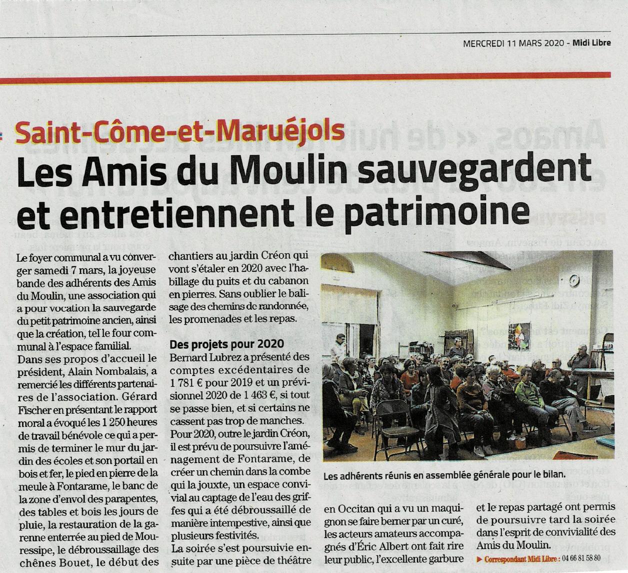 Les Amis du Moulin 7 mars 20