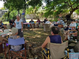 Neighbours in Bongaree are still enjoying Breakfast in Marquadt park for Australia Day.