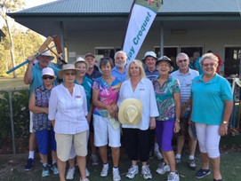 Pumicestone Passage Probus enjoying a game of Croquet and raising much needed funds for the Neighbou
