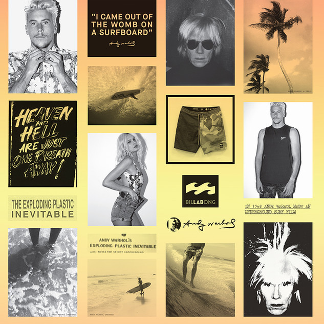 "Andy Warhol x LAB (Billabong) Series. Final design and driection for campaign / catalogue. Quote by Andy Warhol from interview on the film ""san diego surf ""by Andy warhol. 1969."