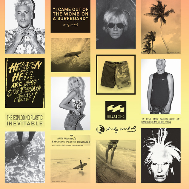 """Andy Warhol x LAB (Billabong) Series. Final design and driection for campaign / catalogue. Quote by Andy Warhol from interview on the film """"san diego surf """"by Andy warhol. 1969."""