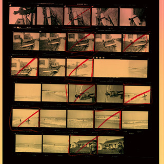 Andy Warhol, Proof sheet featuring his friend hanging ten at his montak estate. found deep in the warhol archive. feature on exhibition poster.