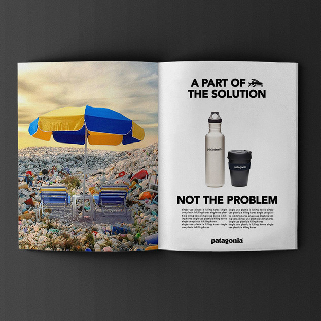 Patagonia, design and concept pitch to fight against single use plastics. (photo collage)