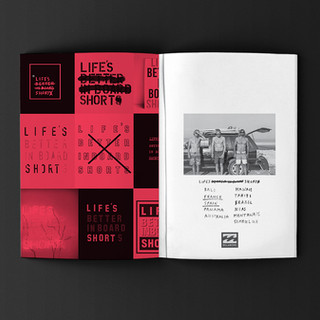 Life's Short campaign zine, for Billabong.final Design and diection.