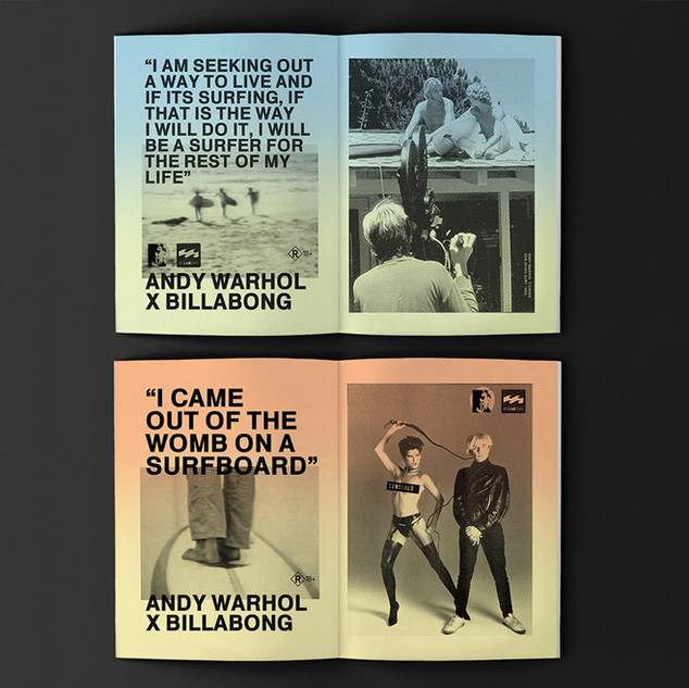 """Andy Warhol x LAB (Billabong) Series. My First roughs for campiagn Concep and Design. Quotes by Andy Warhol and Paul Morrisey original director of the film """"san diego surf """"by Andy warhol. 1969."""