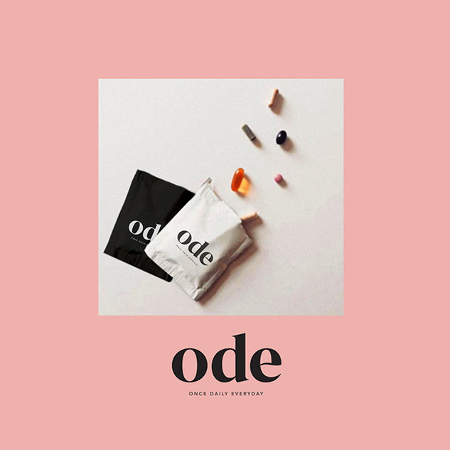 Ode Vitamins, logo and packaging design.