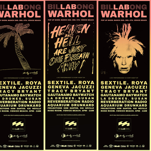 Andy Warhol x LAB (Billabong) Series. Final design and driection and curration for launch exhibition.