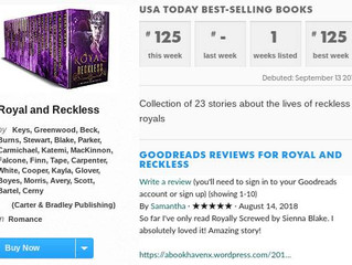 Royal and Reckless Hits USA Today Bestseller List!