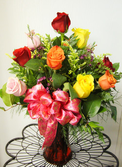 Dozen Mixed Roses Arranged