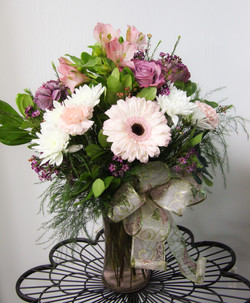 Pink and Purple Vase Arrangement