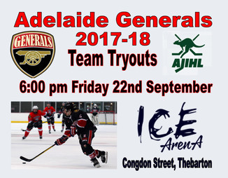 ADELAIDE GENERALS 2017-18 TRYOUTS START FRIDAY 22 SEPETEMBER
