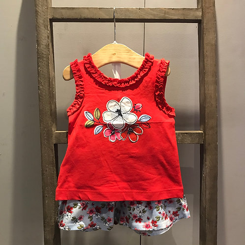 Mayoral: Flowers - Red Two Piece  Shorts Set