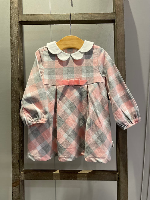 Mayoral: Pink Check Dress with Bow and Collar 2807