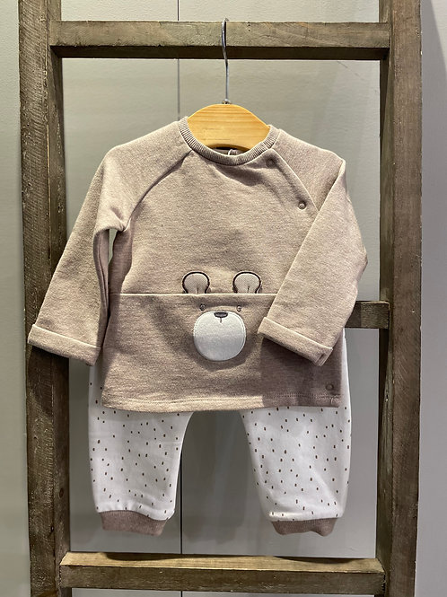 Mayoral: Beige 2 Piece Outfit with Bear Design 2690