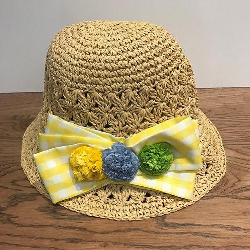 Mayoral: Gingham Yellow - Straw Hat
