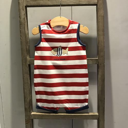 Mayoral: Stripe Sleeveless Romper (Red/White)