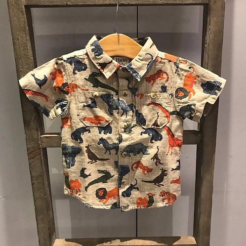 Hatley: 211380 - Beige Animal Print Shirt
