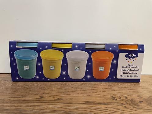 DJECO: 4 Tubs of Play Dough (Glitter)