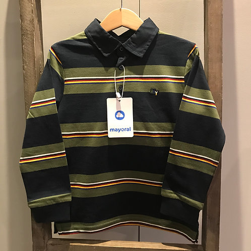Mayoral: 4156 Striped Polo Top