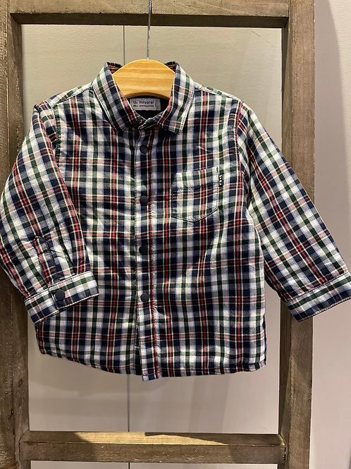 Mayoral: Navy/Red/Green Check Long Sleeved Shirt with Lightly Padded Lining 2127
