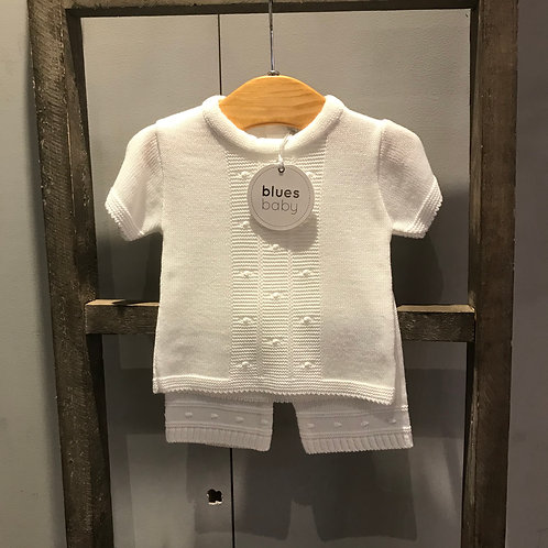 Blues Baby: White Knitted Short Sleeve Set