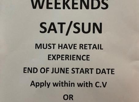 JOB VACANCY Retail Assistant weekends sat/sun