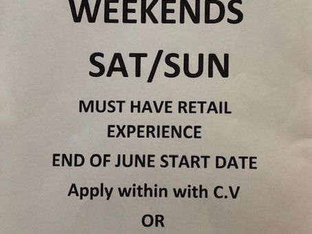 JOB VACANCY Retail Assistant weekends sat/sun
