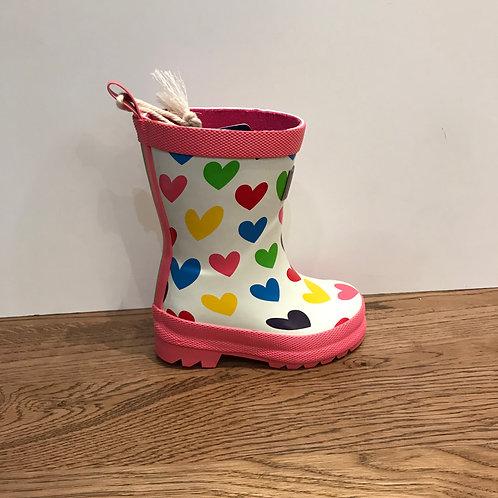 Hatley: Rainbow Hearts - White Wellies