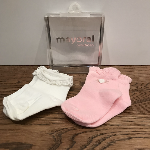 Mayoral: 9897 2 Pack - Cream/Pink