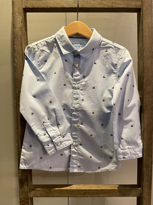 Mayoral: Light Blue Long Sleeve Shirt with Panda Design 2132
