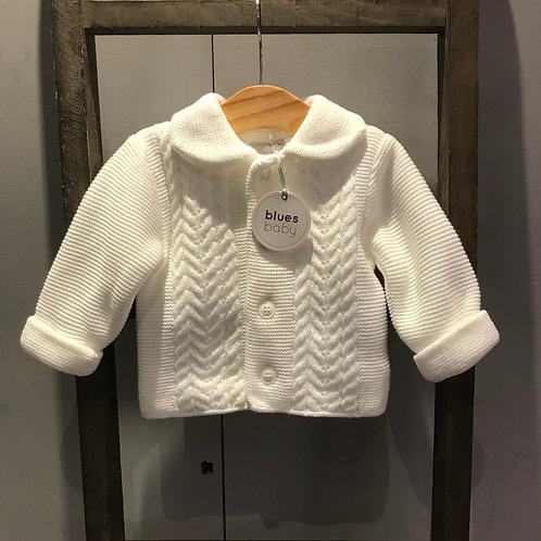 Blues Baby: White Knitted Jacket with Hat