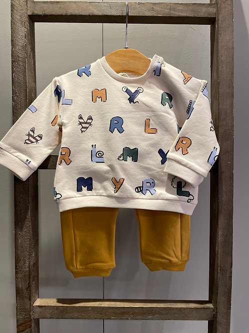 Mayoral: Mustard 2 Piece Outfit with Alphabet Design 2602