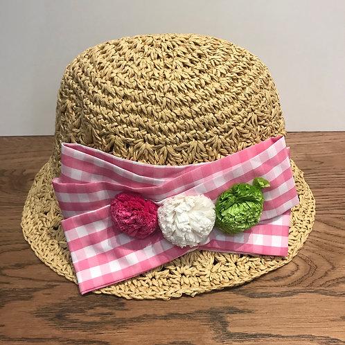 Mayoral: Gingham Pink - Straw Hat