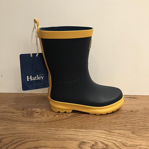 Hatley: Matte Wellies - Navy/Yellow