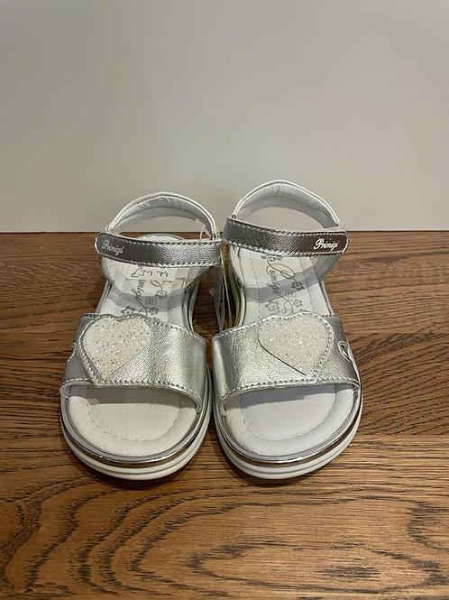 Primigi: Open Toe Sparkly Heart Sandal - White/Silver