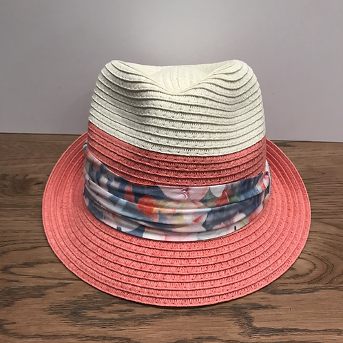 Mayoral: Beige and Coral Straw Hat