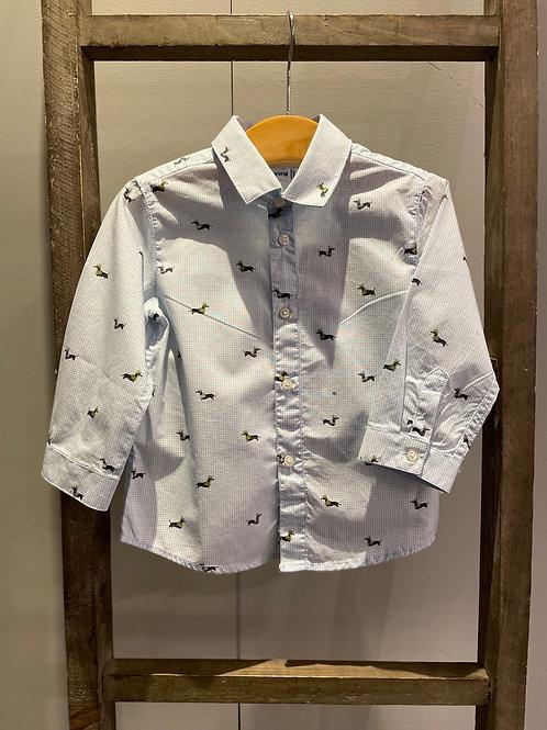 Mayoral: Light Blue Long Sleeve Shirt with Dog Design 2147