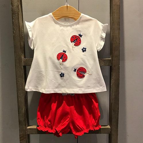 Mayoral: Ladybug 2-Piece Set - White/Red