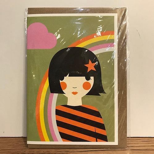 Card: Girl with Rainbow