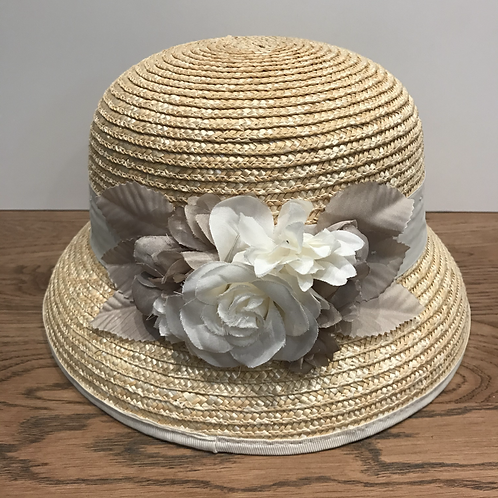 Mayoral: Beige Straw Hat with Flowers