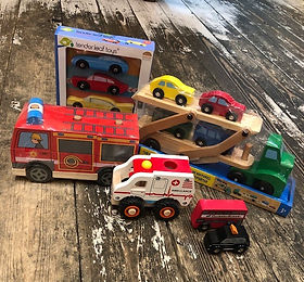 Wooden vehicles at Sid & Evie's in South