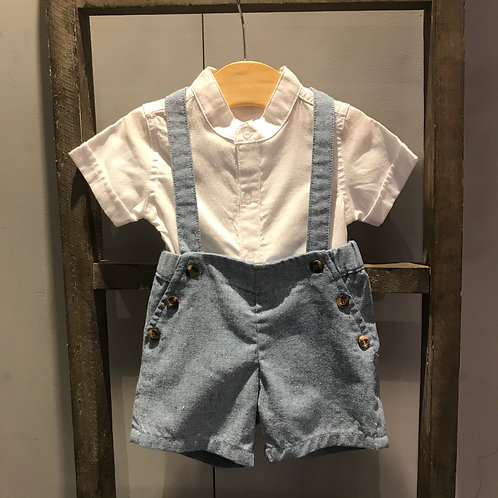 BabyBol: Blue/White Linen Dungaree's 2 Piece set