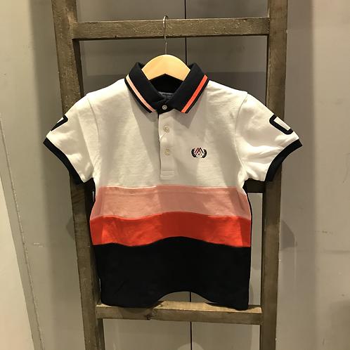 Mayoral: 3109 - Stripe White/Peach Polo Shirt
