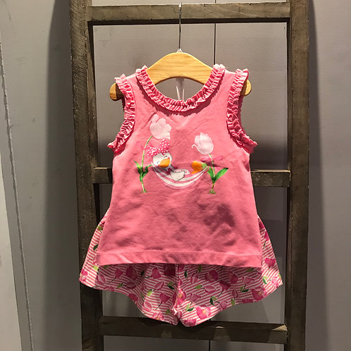Mayoral: Duck - Pink Two Piece Shorts Set
