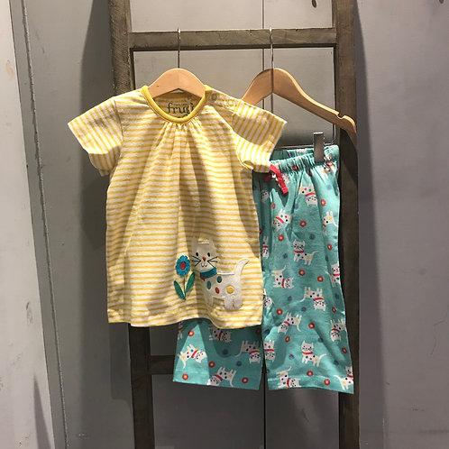 Frugi: Daisy Kitten/Cat - Yellow Pyjamas