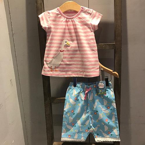 Frugi: Little Peony - Pink/White Pyjamas