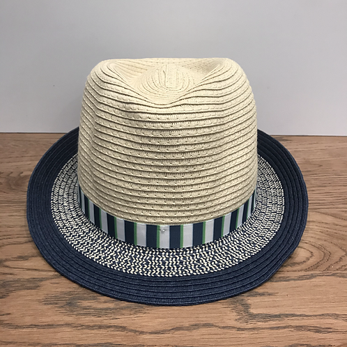 Mayoral: Beige Straw Hat with Navy/Green Stripe Band