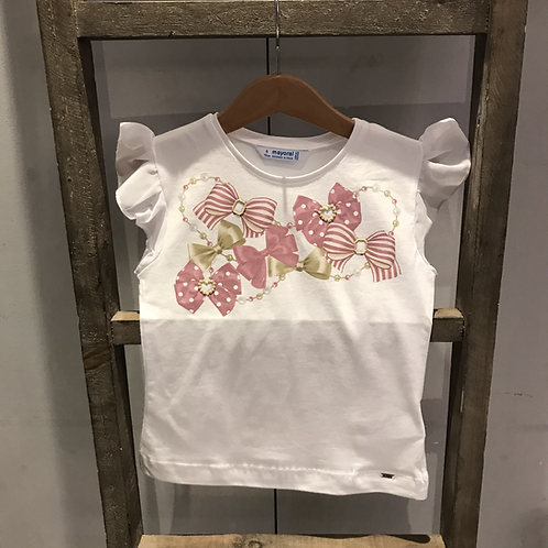 Mayoral: 3002 - White/Pink Bows T-Shirt