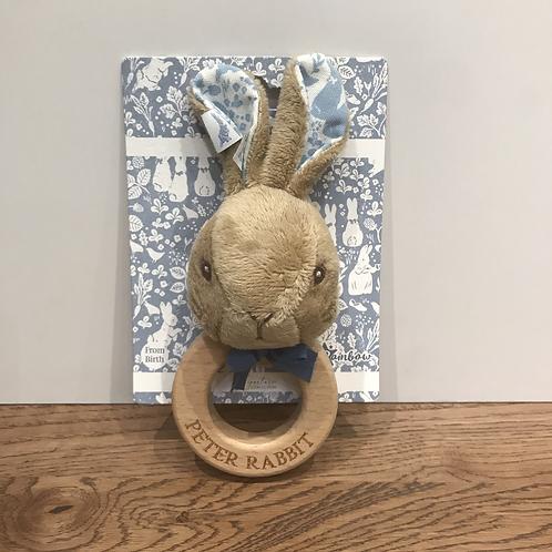 Peter Rabbit: Wooden Rattle (Blue)